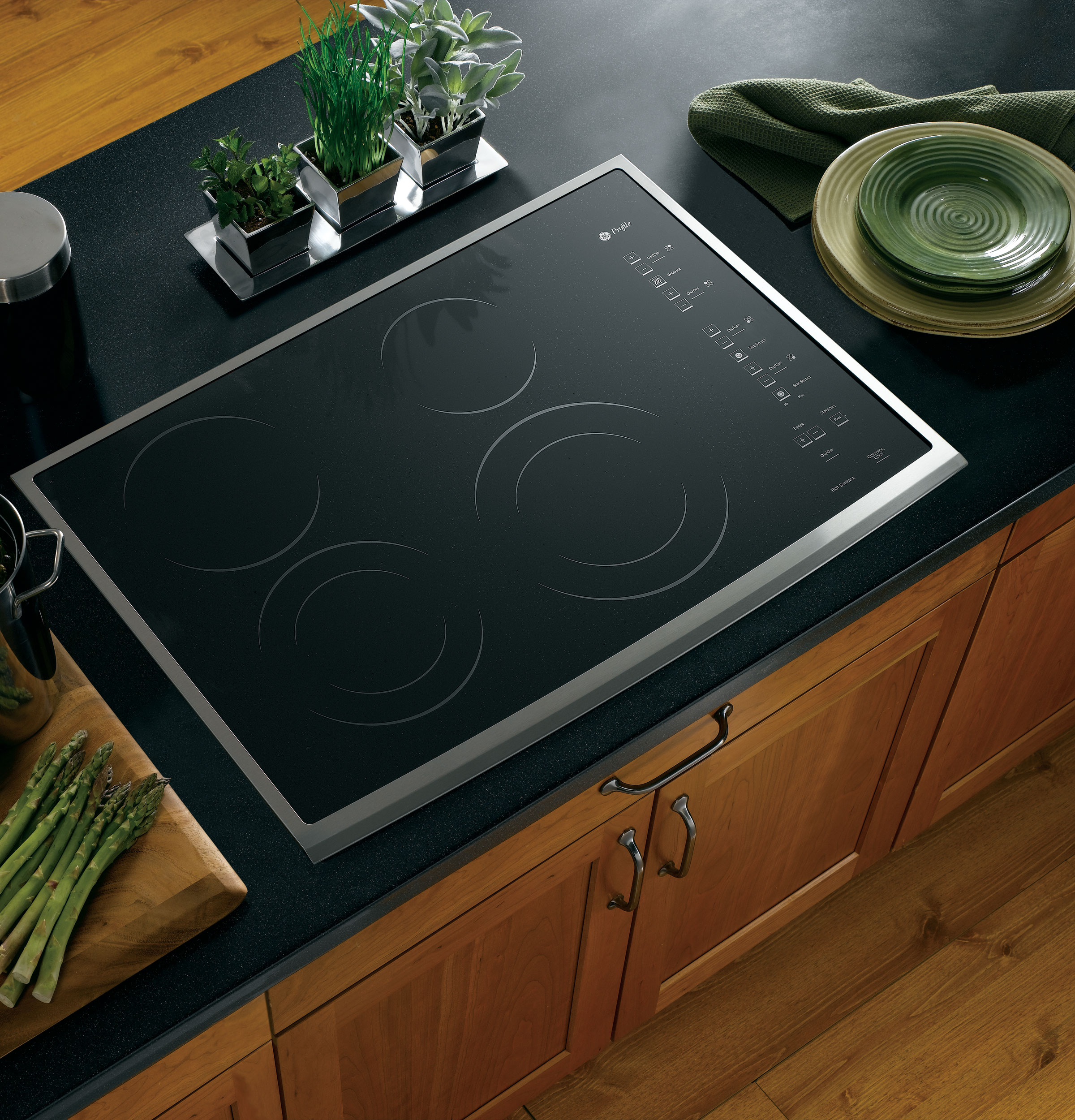 """GE Profile™ 30"""" Built-In CleanDesign Electric Cooktop PP950SMSS"""