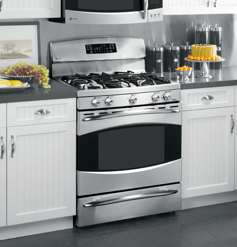 "Picture Of Under Cooktop Kitchen Drawers: GE Profile™ 30"" Free-Standing Self Clean Gas Range With"