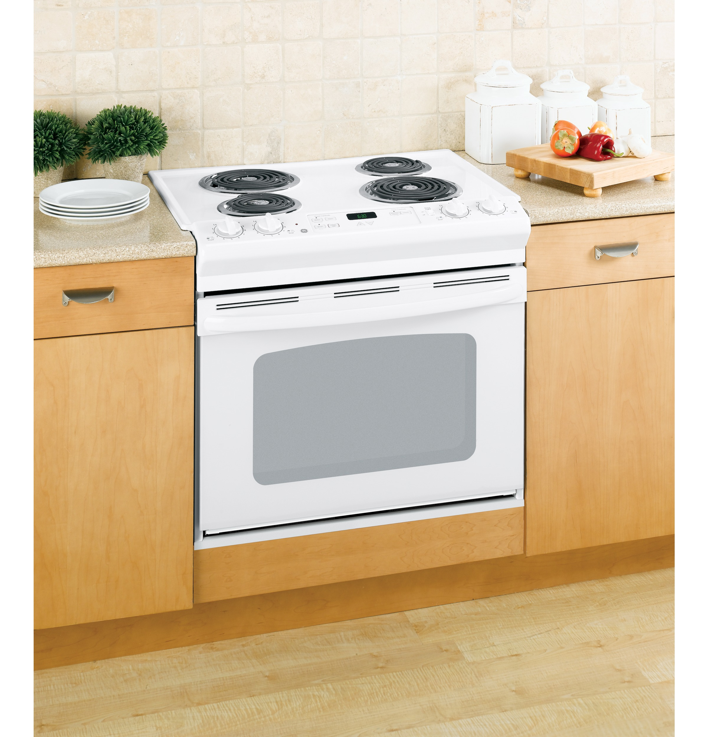 ge 30 drop in electric range with standard clean oven jds28dnww ge appliances. Black Bedroom Furniture Sets. Home Design Ideas