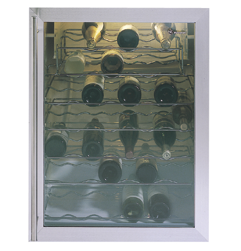 Black Wine Chiller with 7 Full-Width Shelves and Adjustable Temperature-Control
