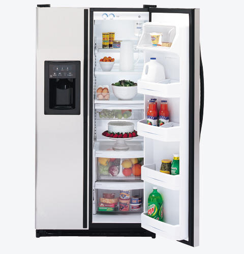 GE® 21.8 Cu. Ft. Stainless Side-By-Side Refrigerator with Dispenser