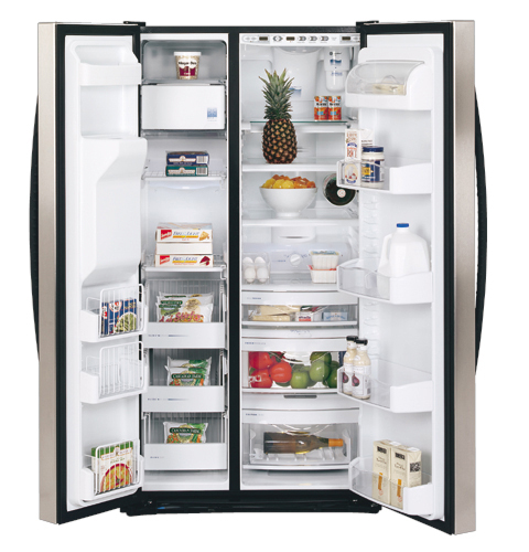 Free Picture Indoors Contemporary Stove Refrigerator: GE Profile Arctica™ 25.3 Cu. Ft. Stainless Side-By-Side
