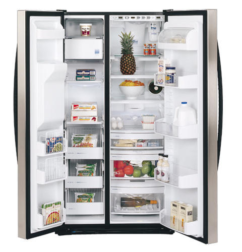 ge profile arctica™ 25 3 cu  ft  stainless side-by-side refrigerator