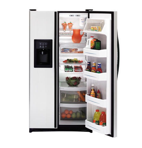 GE® 21.9 Cu. Ft. Capacity CleanSteel™ Side-By-Side Refrigerator with Dispenser