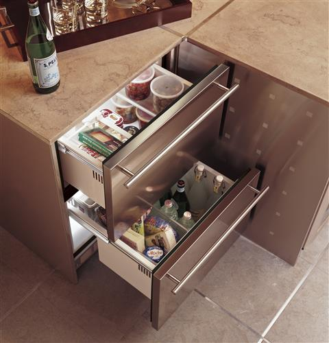 Picture Of Under Cooktop Kitchen Drawers: Monogram Double-Drawer Refrigerator Module