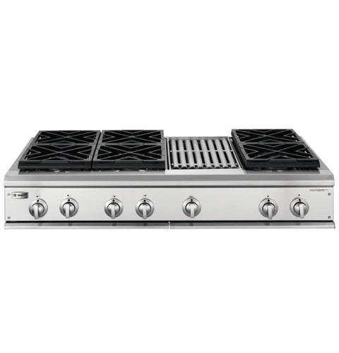 Zgu48n6rhss Ge Monogram 48 Professional Gas Cooktop With 6 Burners And Grill Natural Liances