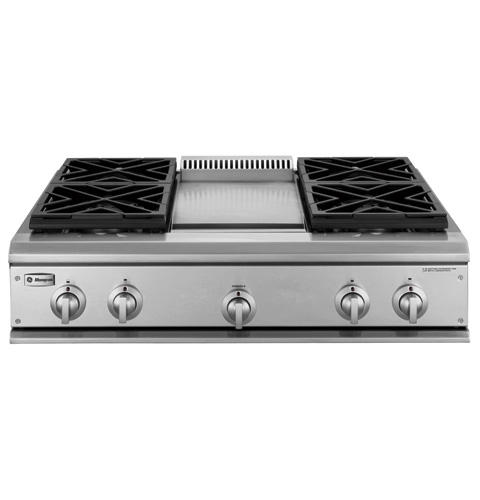 Zgu36l4dhss Ge Monogram 36 Professional Gas Cooktop With 4 Burners And Griddle Liquid Propane Liances