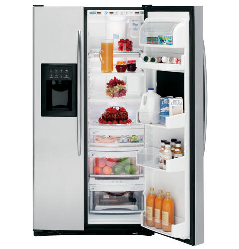 GE Profile™ ENERGY STAR® 25.7 Cu. Ft. Stainless Side-by-Side Refrigerator with Refreshment Center