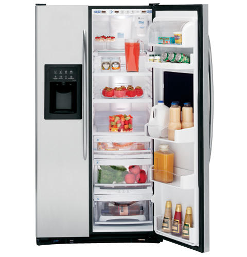 GE Profile CustomStyle™ 22.6 Cu. Ft. Stainless Side-By-Side Refrigerator with Refreshment Center