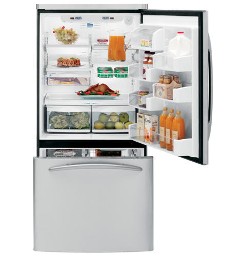 GE Profile™ ENERGY STAR® 22.2 Cu. Ft. Stainless Steel-Wrapped Bottom-Freezer Drawer Refrigerator