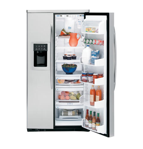 GE Profile™ ENERGY STAR® 25.5 Cu. Ft. Stainless-Wrapped Side-by-Side Refrigerator with Dispenser