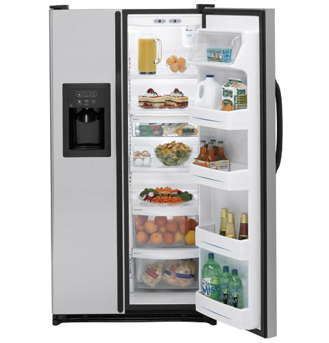GE® 25.0 Cu. Ft. Capacity Stainless Side-By-Side Refrigerator with Dispenser