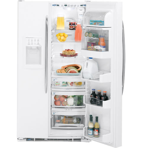 GE Profile™ ENERGY STAR® 25.5 Cu. Ft. High-Gloss Side-By-Side Refrigerator with Dispenser