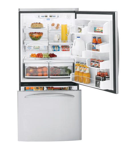 GE Profile™ 22.2 Cu. Ft. Stainless Steel-Wrapped Bottom-Freezer Drawer Refrigerator