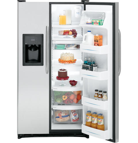 GE® 22.0 Cu. Ft. Stainless Side-By-Side Refrigerator with Dispenser