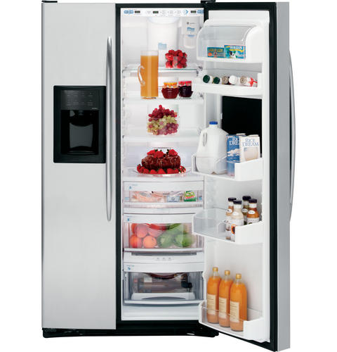 GE Profile™ 25.7 Cu. Ft. Stainless Side-by-Side Refrigerator with Refreshment Center
