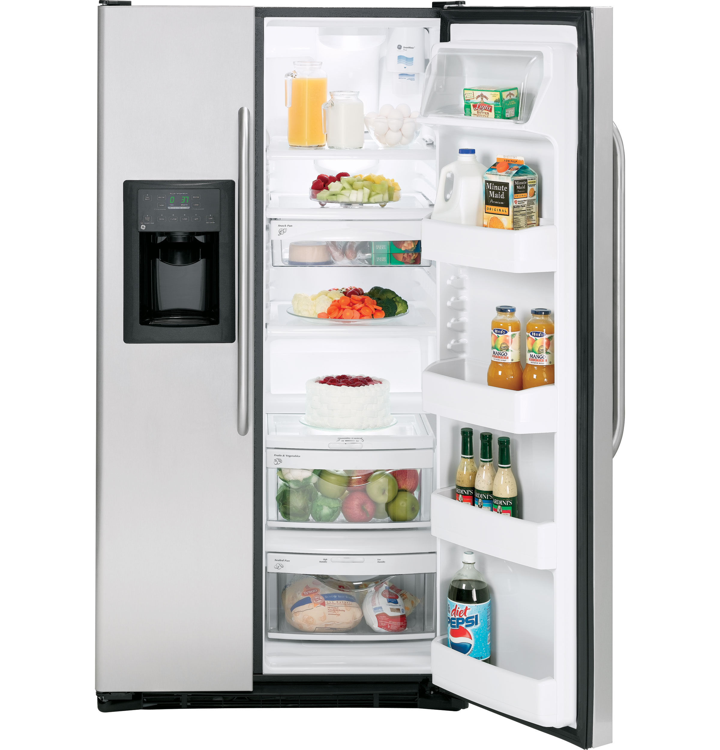 ge® 25 4 cu ft stainless side by side refrigerator product image