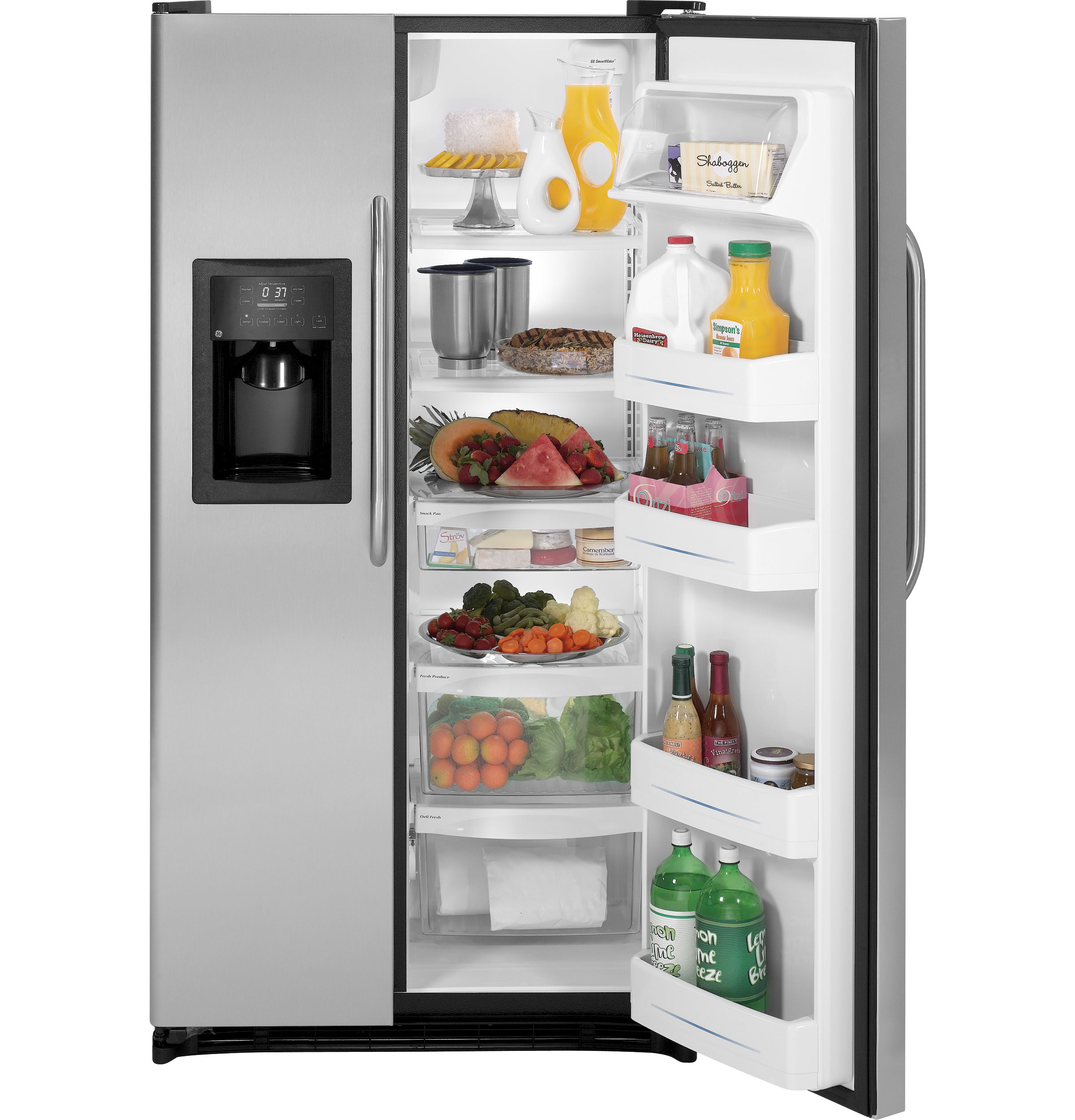 ge® energy star® 25 3 cu ft side by side refrigerator product image product image product image