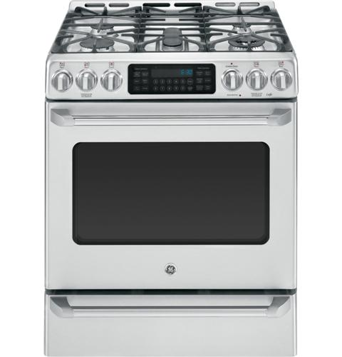GE Café™ Series Slide-In Front Control Dual-Fuel Range with Baking Drawer– Model #: C2S985SETSS