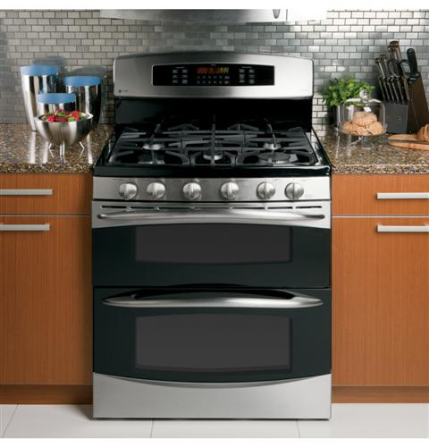 ge profile 30 free standing gas double oven with convection range