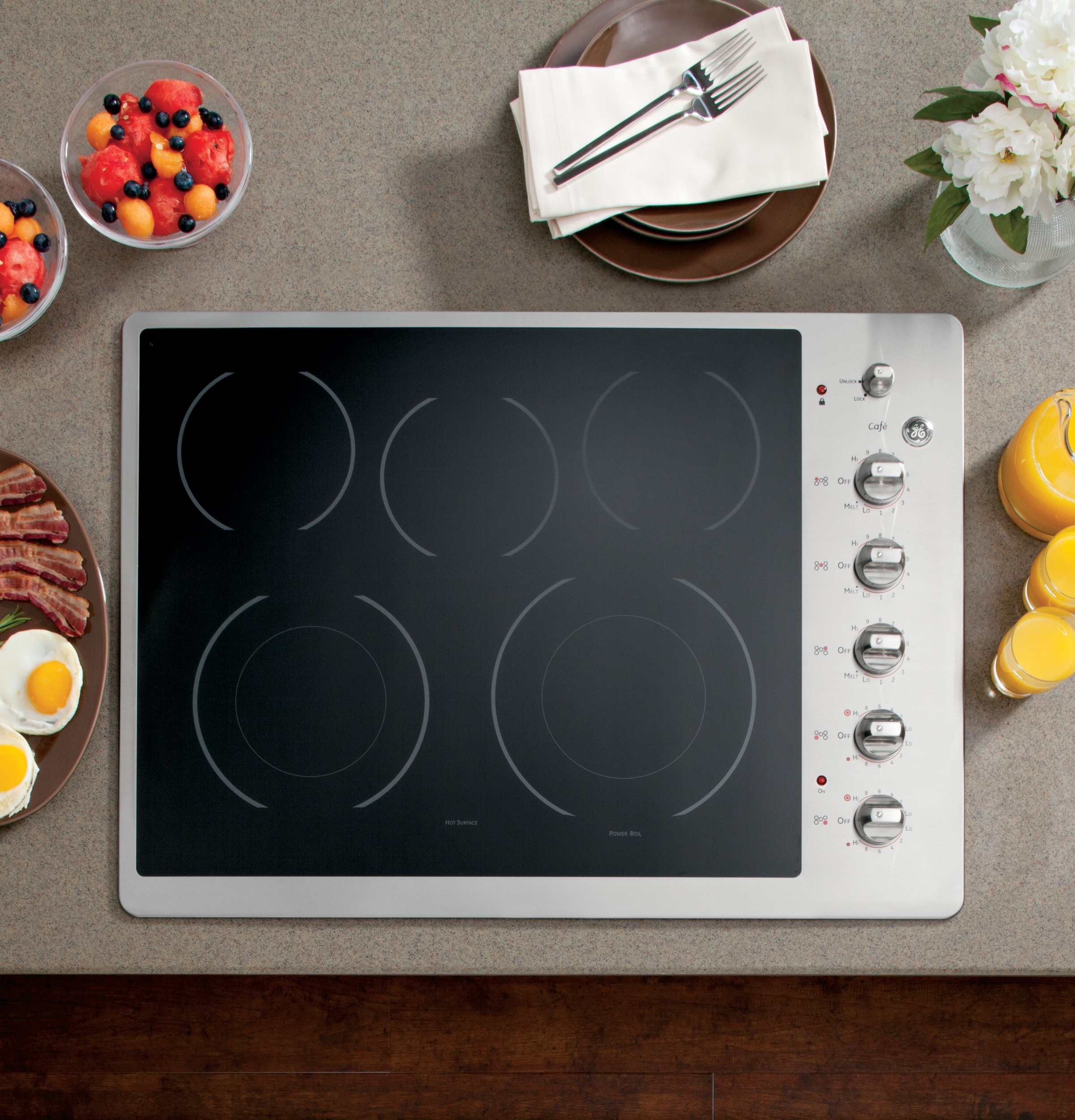 """GE Café™ Series 30"""" Built-In Electric Cooktop CP350STSS"""