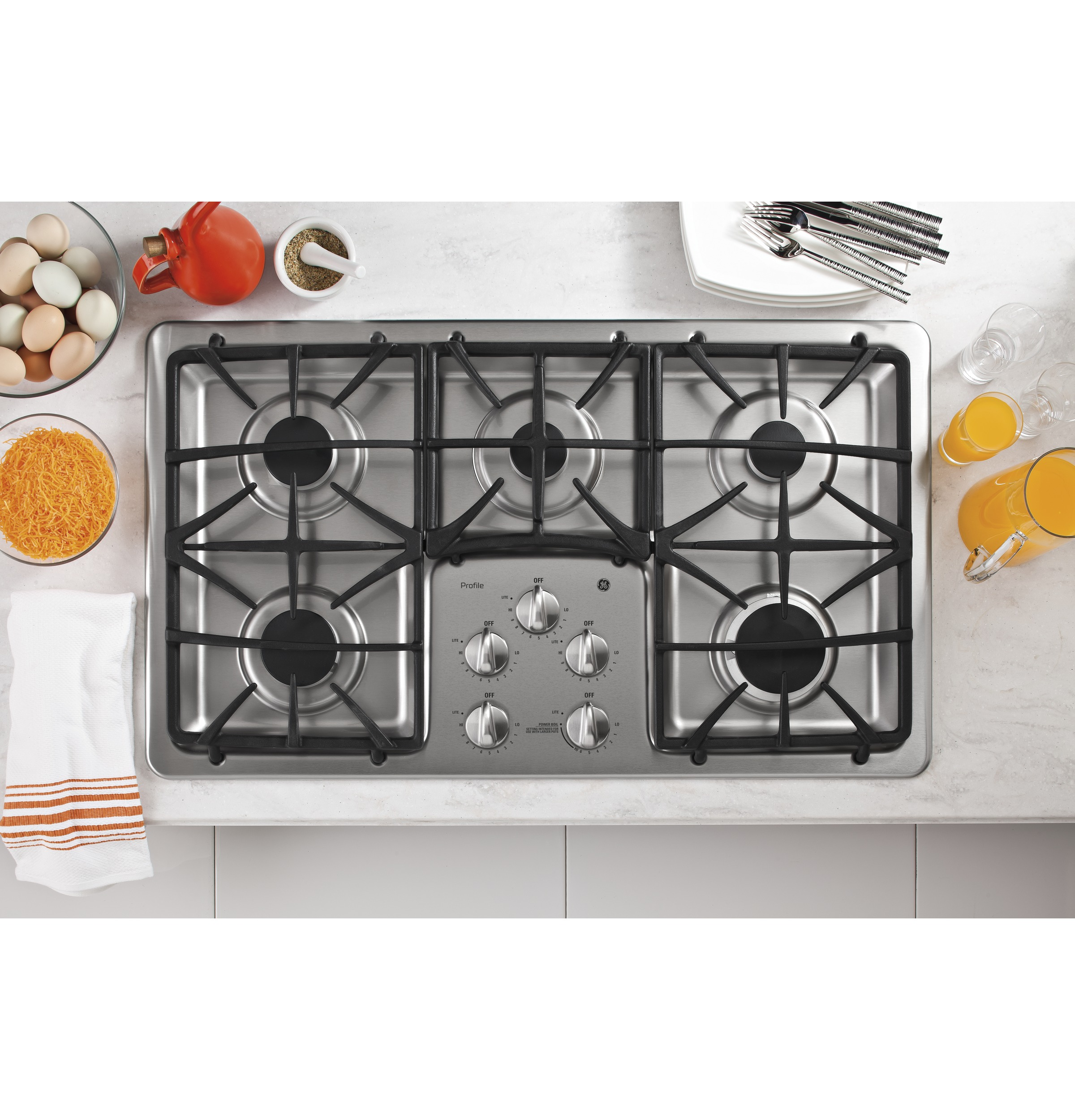 36 inch gas cooktop with downdraft - Product Image