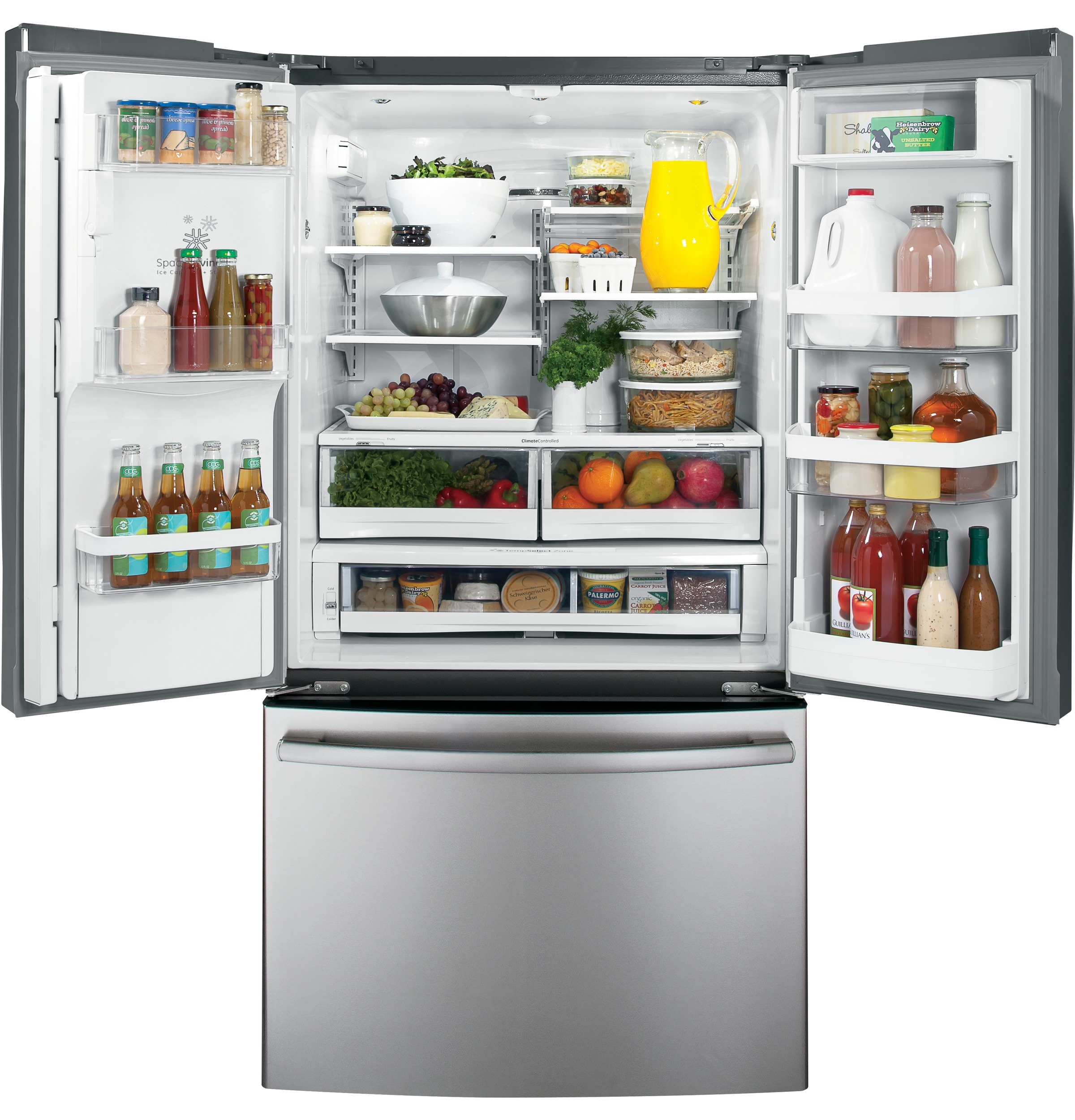 Free Picture Indoors Contemporary Stove Refrigerator: GE® 27.7 Cu. Ft. French-Door Refrigerator