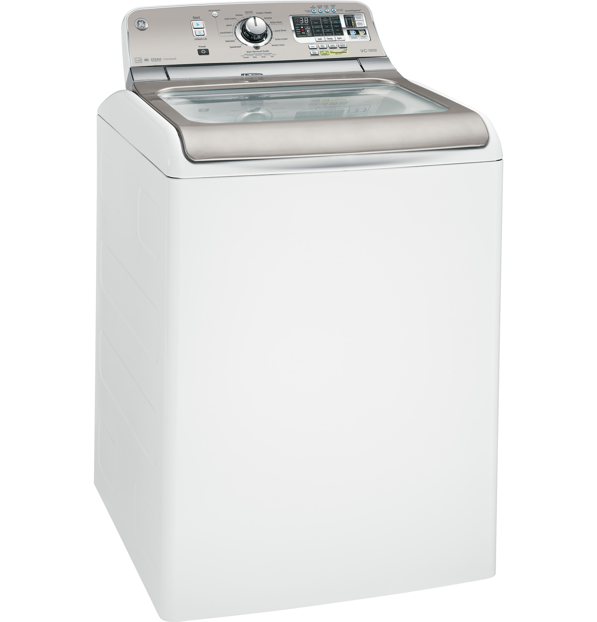 ge® 5 0 doe cu ft capacity washer stainless steel basket product image product image product image product image