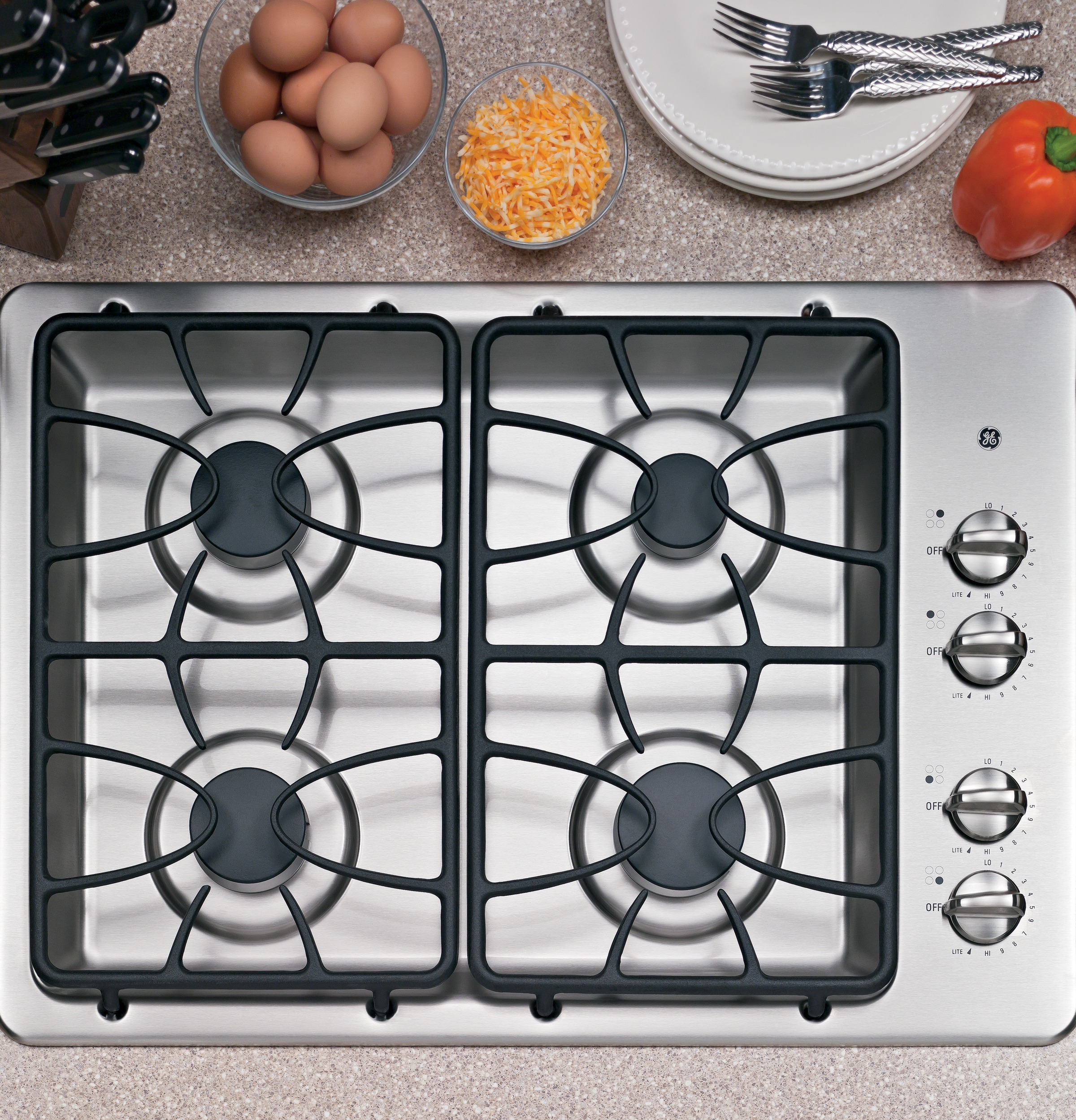 Built In Ge Cooktops ~ Ge quot built in gas cooktop jgp setss appliances