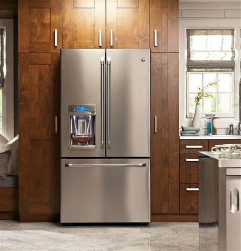 GE Café™ Series ENERGY STAR® 27.8 Cu. Ft. French-Door Refrigerator with Hot Water Dispenser– Model #: CFE28TSHSS