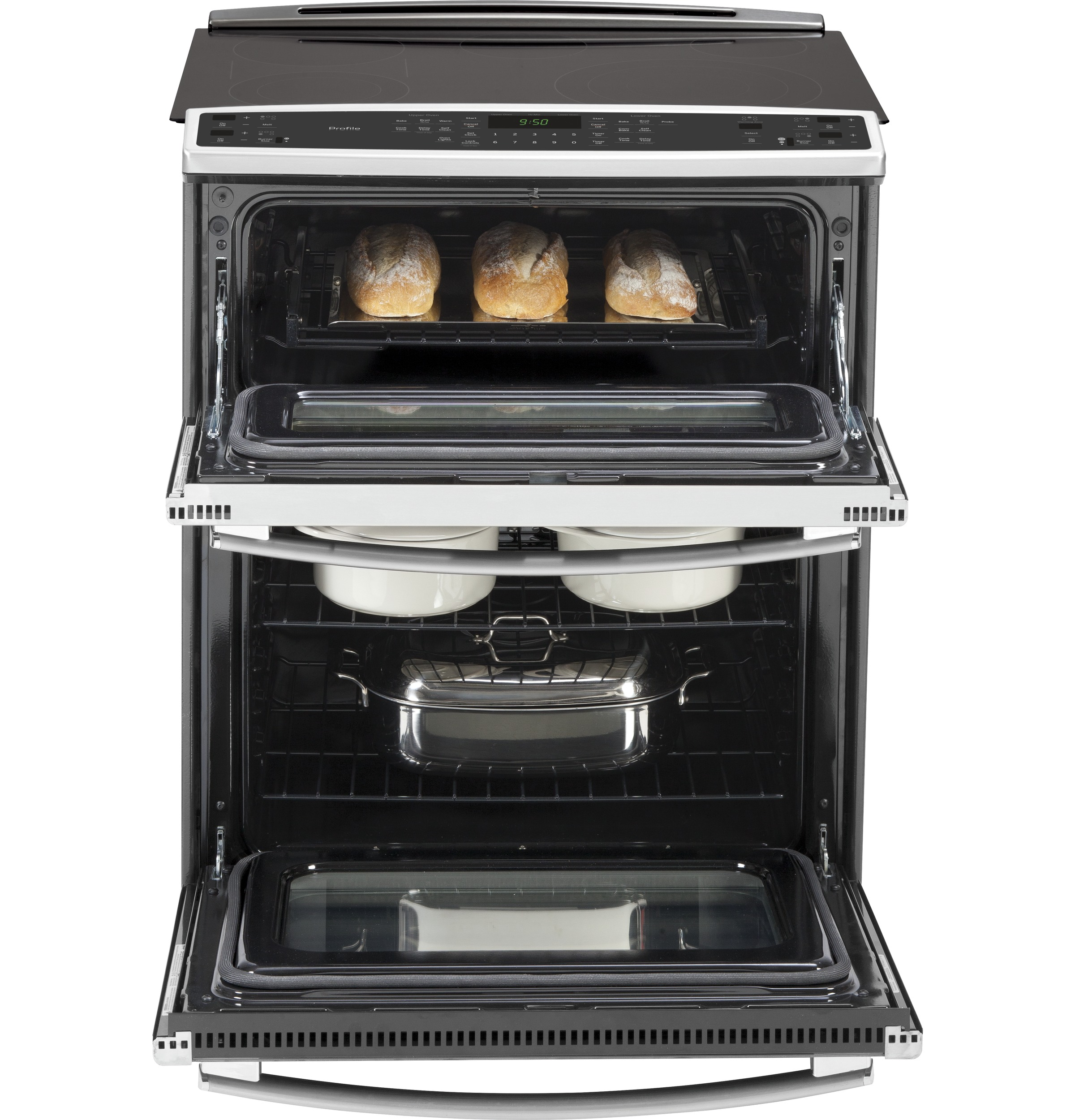 "ge profileâ""¢ series 30 slide in front control double oven electric product image"
