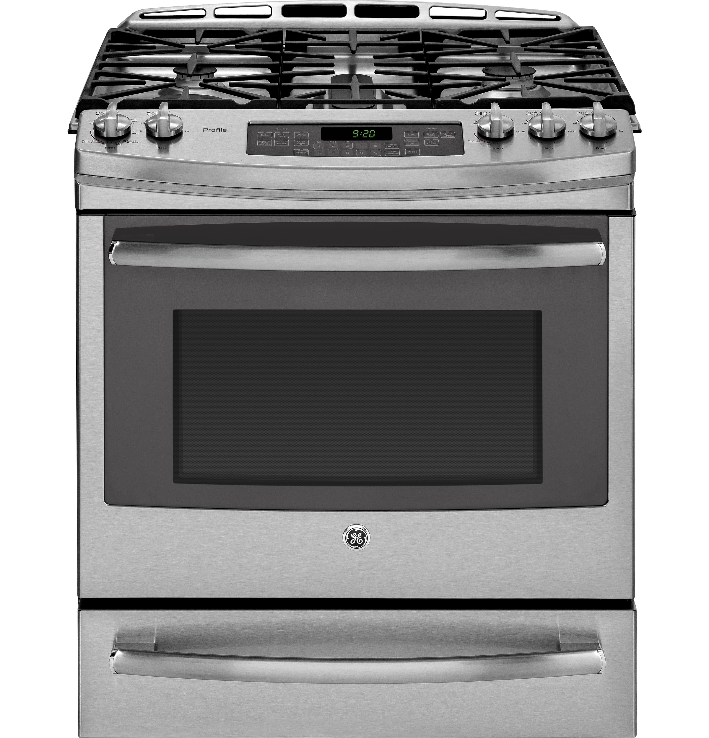 ge profile series 30 slide in front control gas range with warming drawer pgs920sefss ge. Black Bedroom Furniture Sets. Home Design Ideas