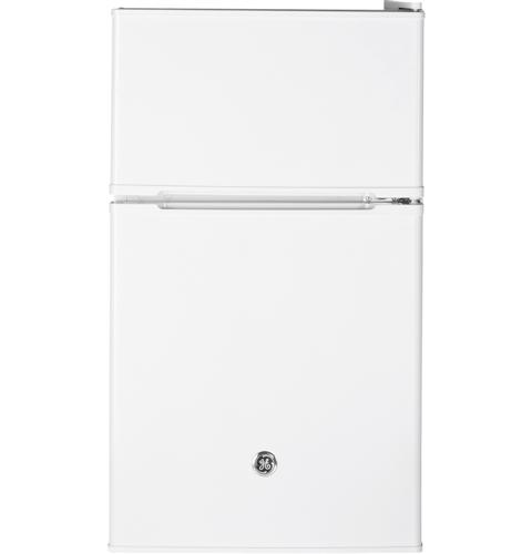 GE® Double-Door Compact Refrigerator– Model #: GDE03GGKWW