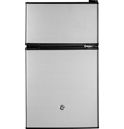 GE® Double-Door Compact Refrigerator– Model #: GDE03GLKLB