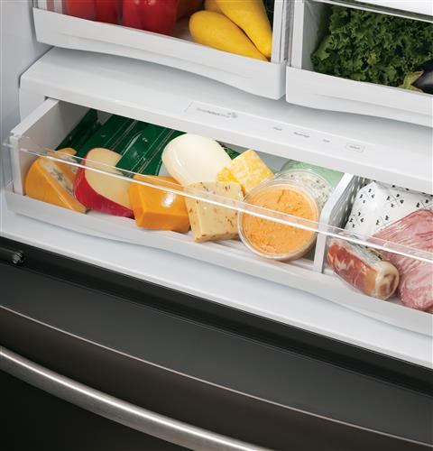 Full-width, electronic temperature-controlled drawer with LED lights