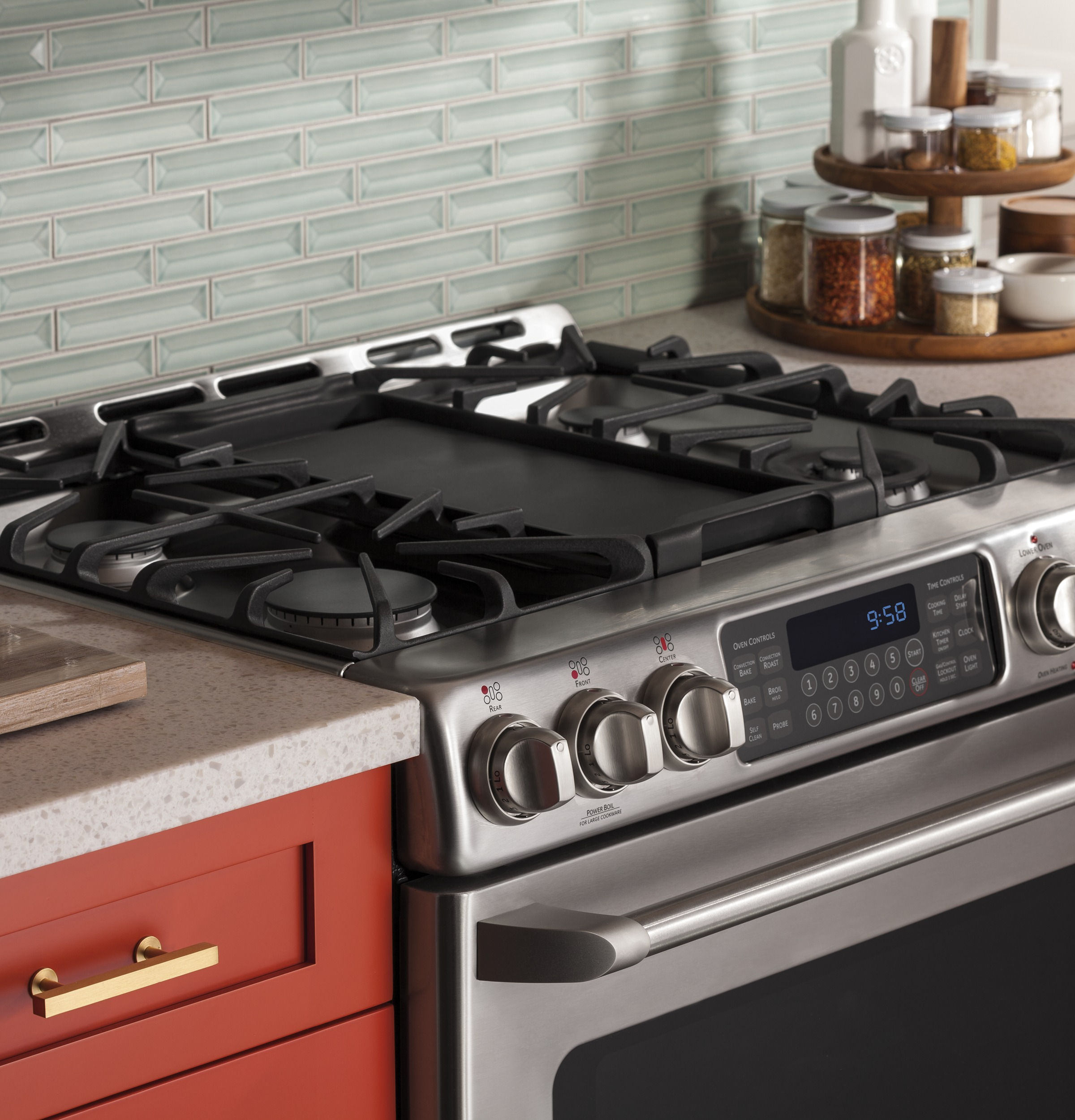steel in stainless gas range catalog air jenn slide countertop