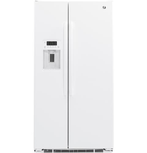 GE® 21.9 Cu. Ft. Counter-Depth Side-By-Side Refrigerator– Model #: GZS22DGJWW
