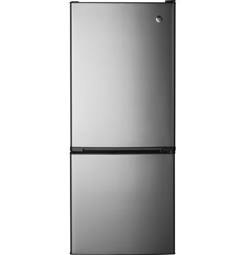GE® 10.5 Cu. Ft. Bottom-Freezer Refrigerator– Model #: GBE10ESJSB