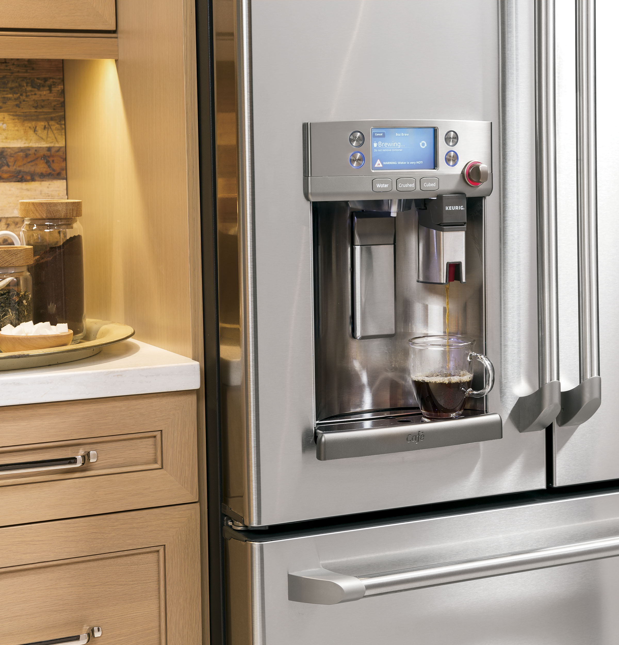GE Café™ Series ENERGY STAR® 22.2 Cu. Ft. Counter-Depth French-Door Refrigerator with Keurig® K-Cup® Brewing System