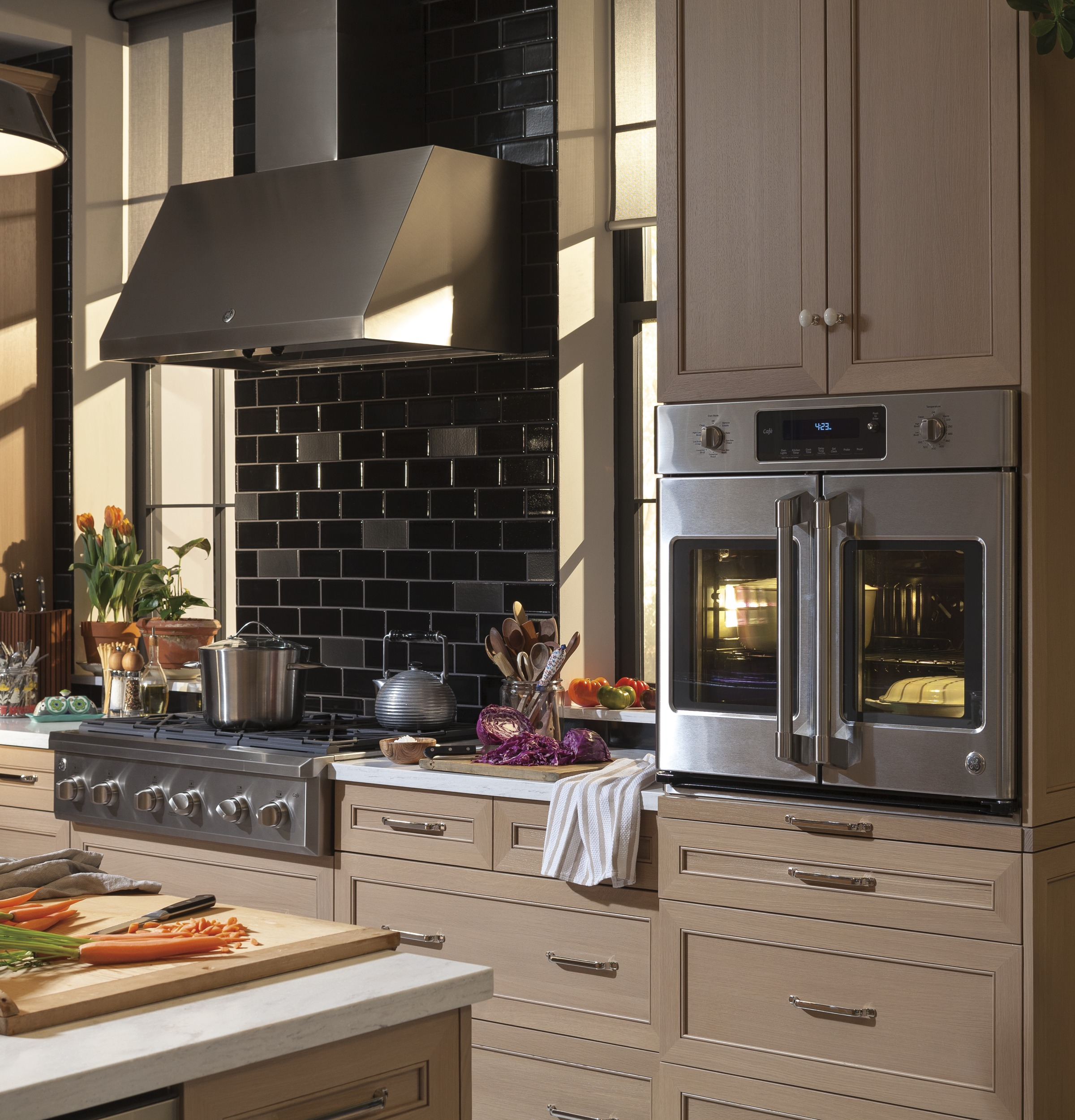 Ge Kitchen Suite Ge caf series 30 built in french door single convection wall oven product image workwithnaturefo