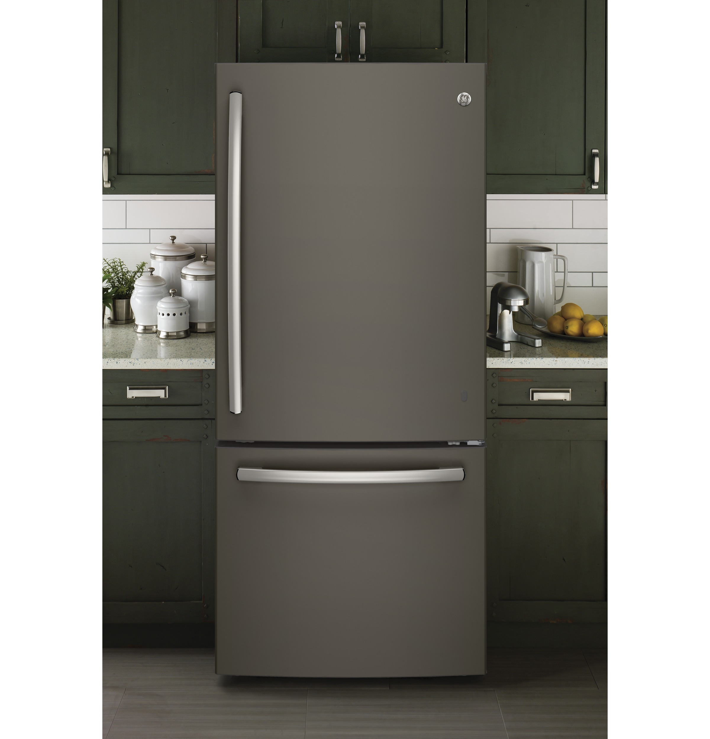 Design Ge Slate Refrigerator energy 20 9 cu ft bottom freezer refrigerator product image