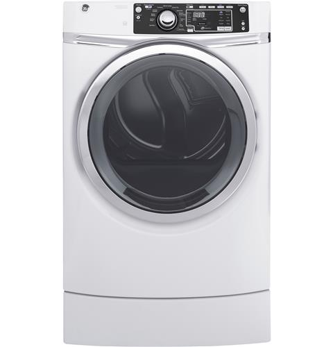 GE® 8.3 cu. ft. capacity RightHeight™ Design Front Load gas ENERGY STAR® dryer with steam– Model #: GFD49GRSKWW