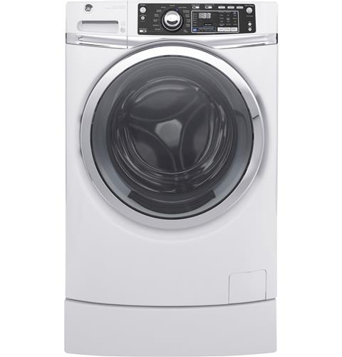 GE® 4.9 DOE cu. ft. Capacity RightHeight™ Front Load ENERGY STAR® Washer with Steam– Model #: GFW490RSKWW