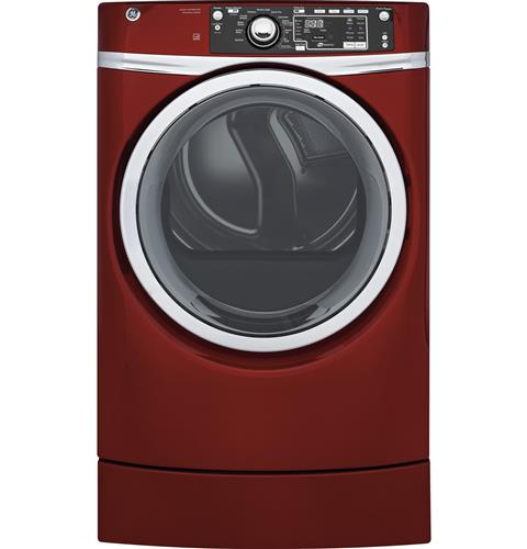 GE® 8.3 cu. ft. capacity RightHeight™ Design Front Load gas ENERGY STAR® dryer with steam– Model #: GFD49GRPKRR
