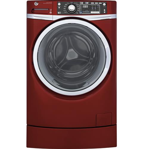 GE® 4.9 DOE cu. ft. Capacity RightHeight™ Front Load ENERGY STAR® Washer with Steam– Model #: GFW490RPKRR