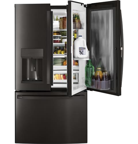 GE Profile™ Series 27.8 Cu. Ft. French-Door Refrigerator with Door In Door and Hands-Free AutoFill– Model #: PFD28KBLTS