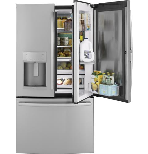 GE Profile™ Series 22.2 Cu. Ft. Counter-Depth French-Door Refrigerator with Door In Door and Hands-Free AutoFill– Model #: PYD22KSLSS
