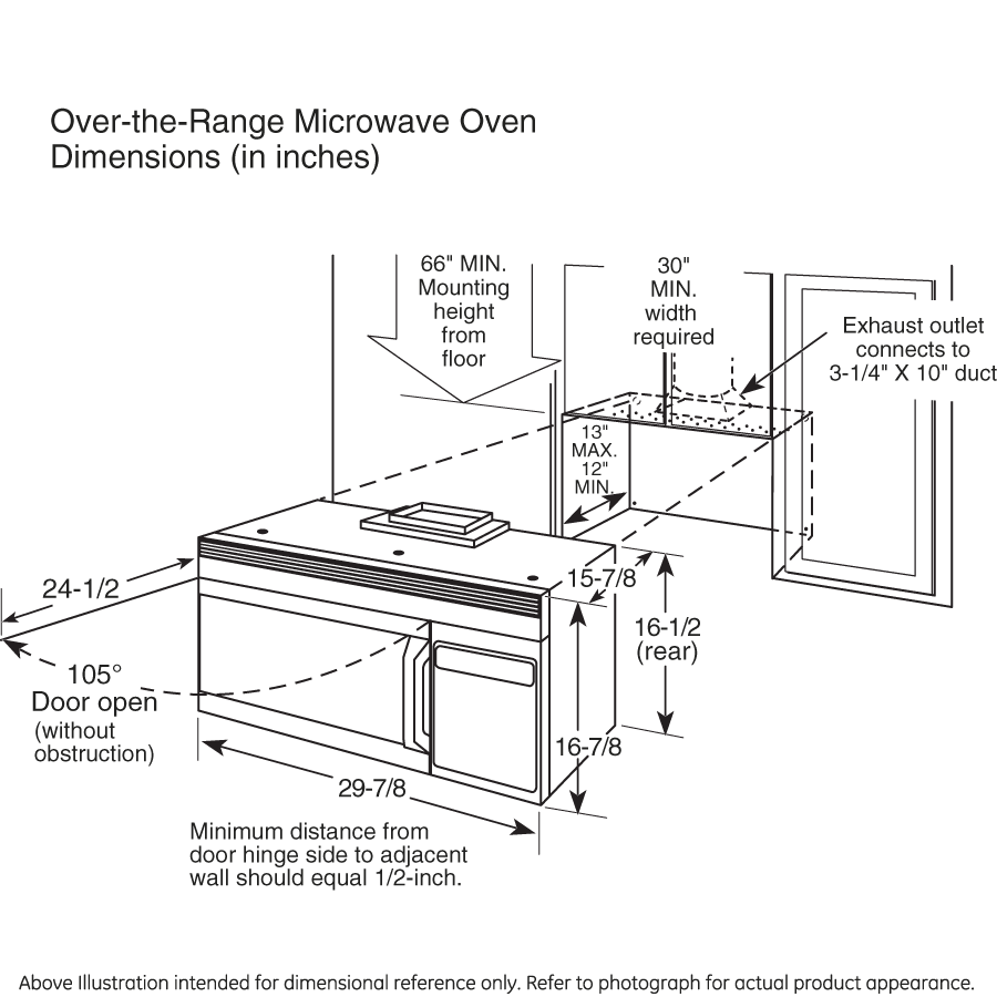 Height of microwave over stove - Over The Range Microwave Sizes Bestmicrowave
