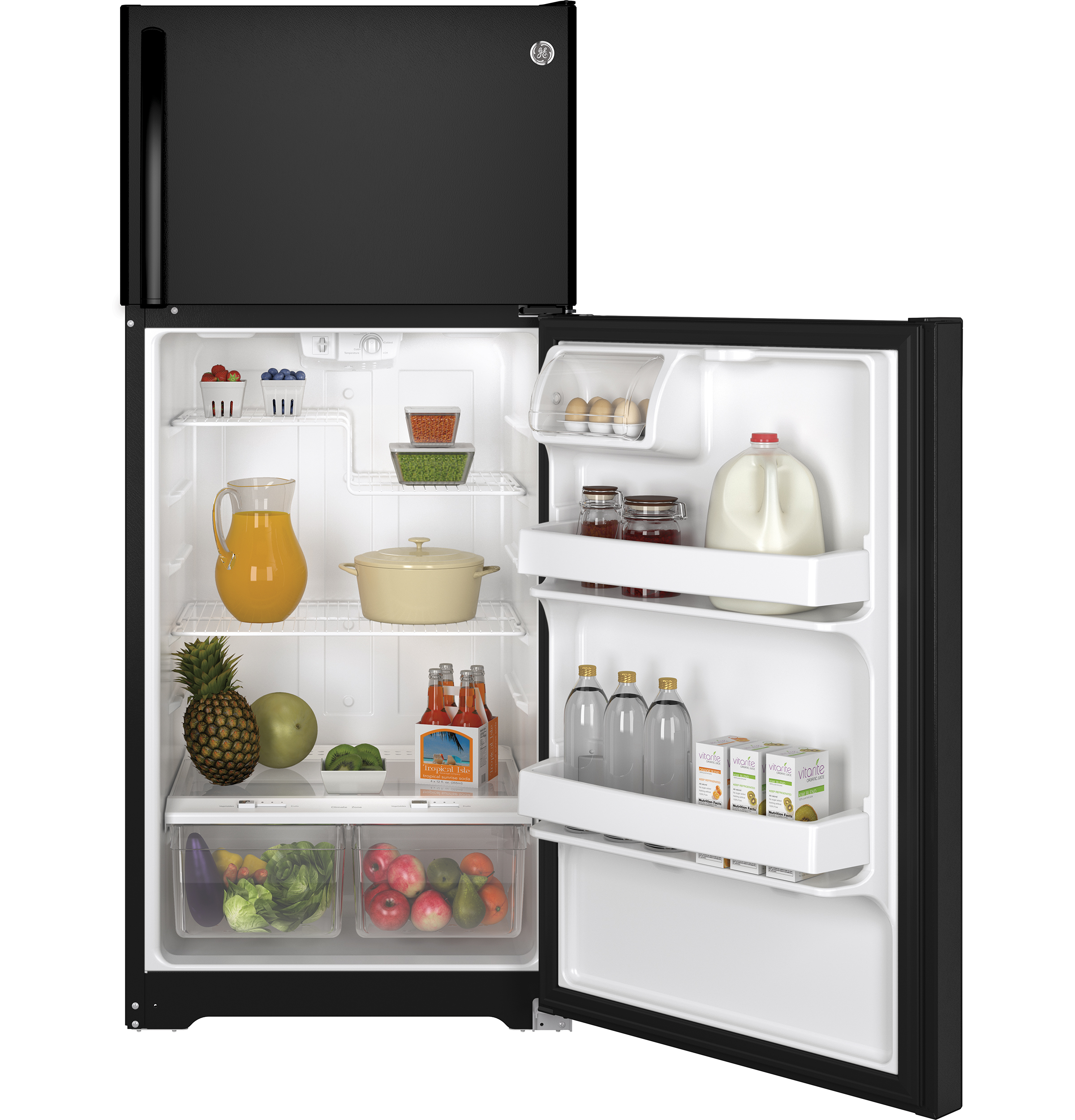 Ge Energy Star 155 Cu Ft Top Freezer Refrigerator Gte16dthbb Model 25 Schematic Product Image
