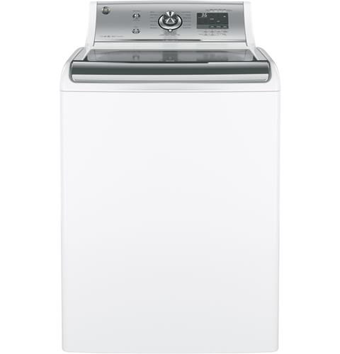 GE® 5.1 DOE cu. ft. capacity washer with stainless steel basket– Model #: GTW810SSJWS